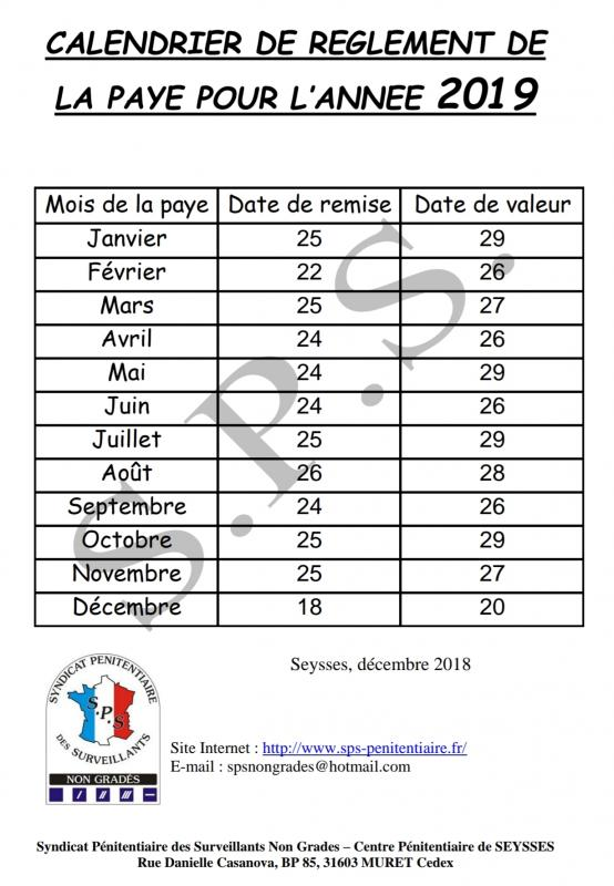 Grille Calendrier 2019.Calendrier Salaire 2019