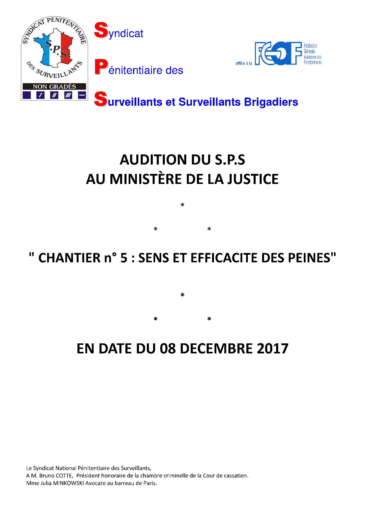 Audition SPS-Minsitère de la Justice Sens et efficacité des peines