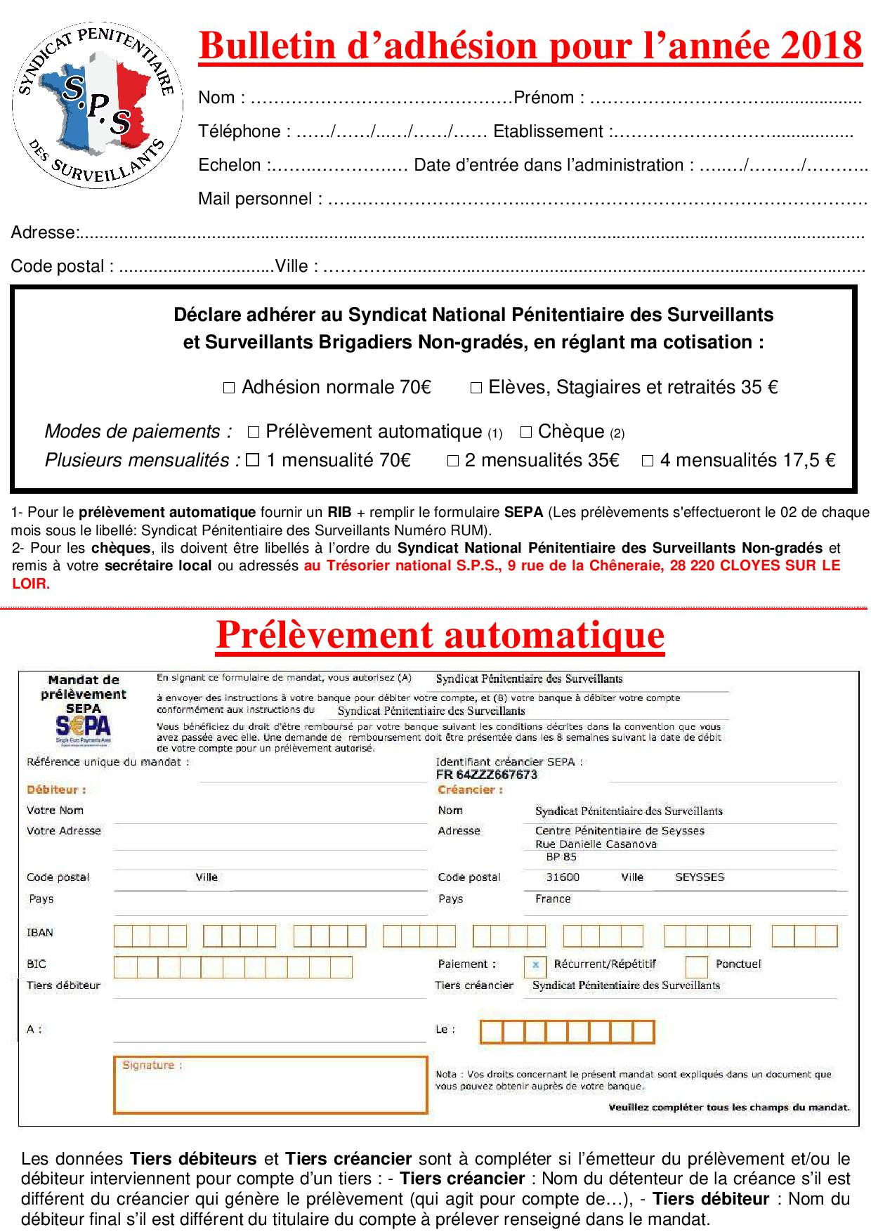Bulletin d'adhésion 2018