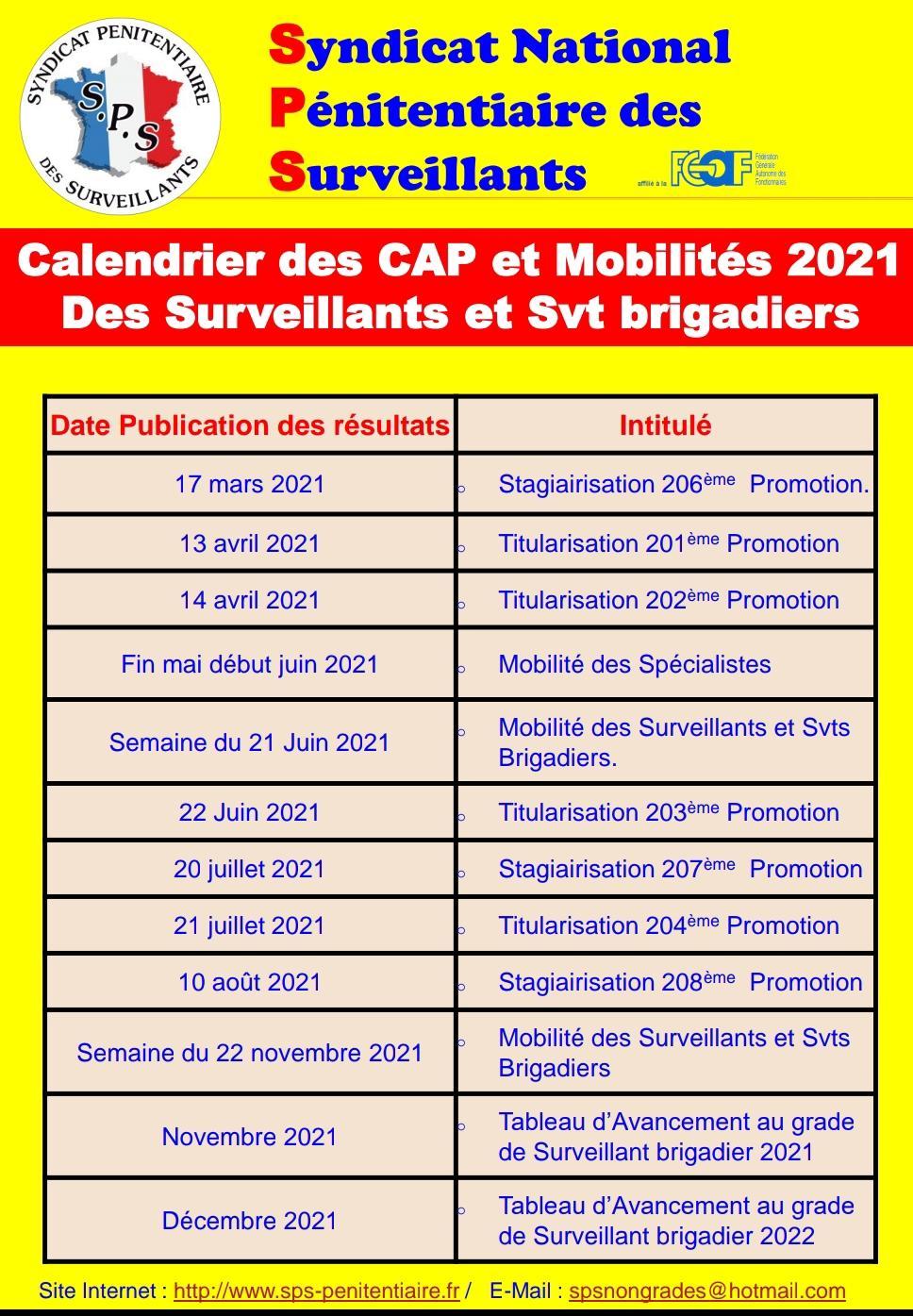 Calendrier dap 2021