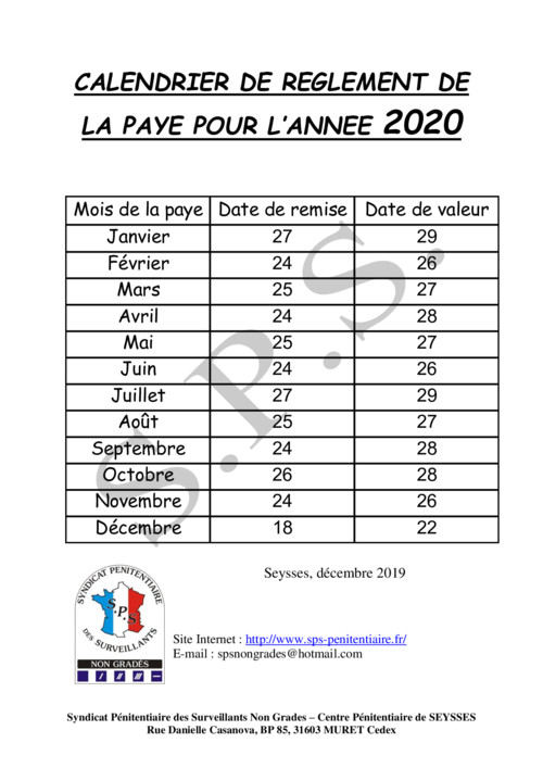 Calendrier salaire 2020