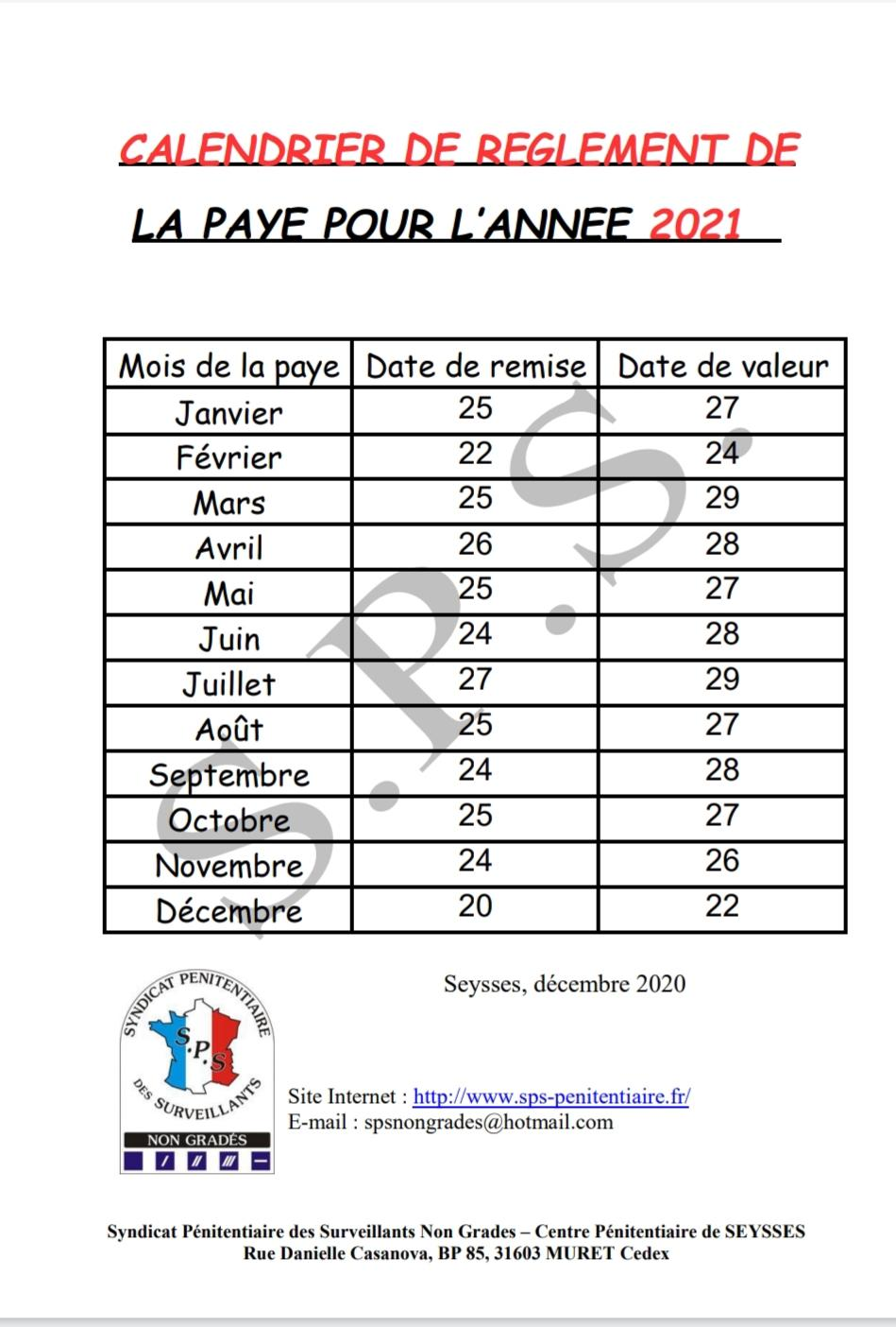 Calendrier des payes 2021