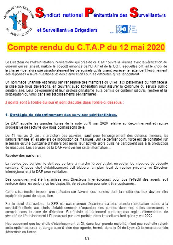 Compte rendu du ctap du 12 mai 2020