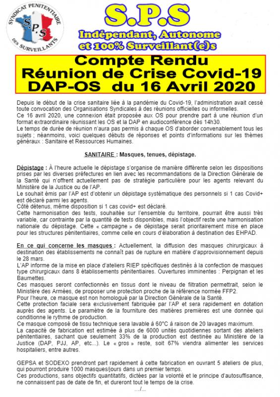Compte renu reunionn de crise covid 19
