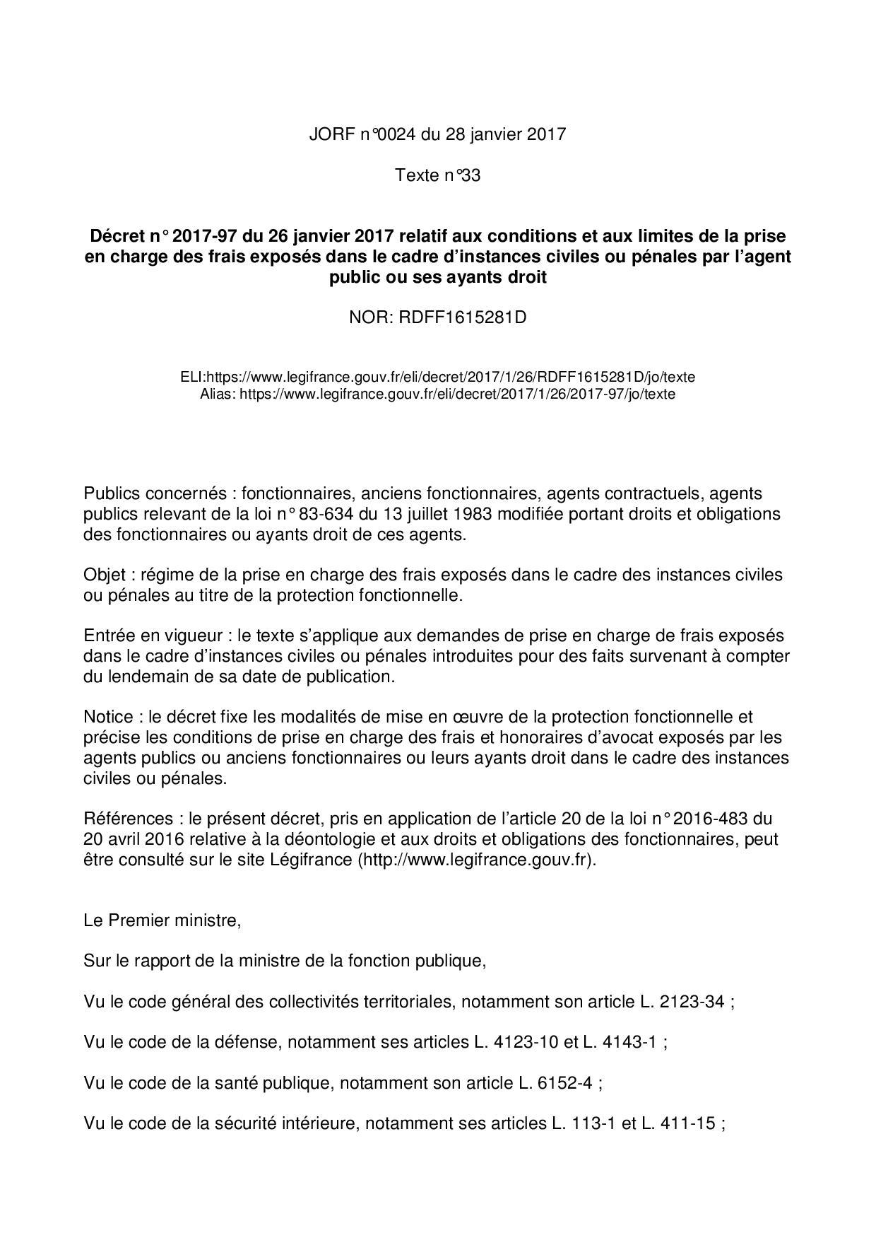 Decret n 2017 97 du 26 janvier 2017 version initiale page 001