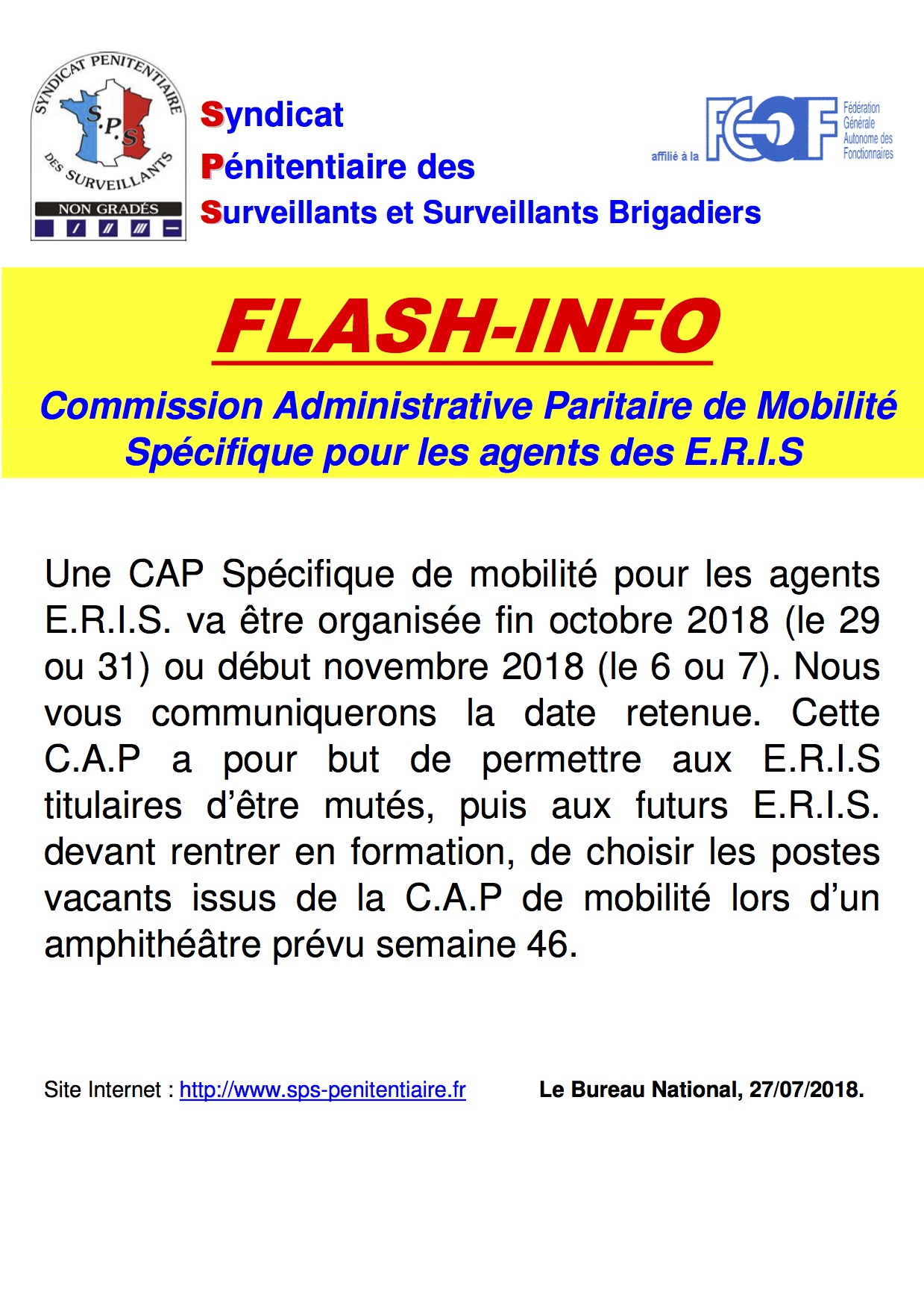 Dates CAP spécifique ERIS