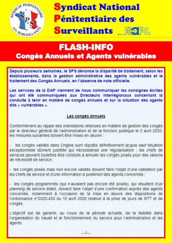 Flash info conges annuels et agents