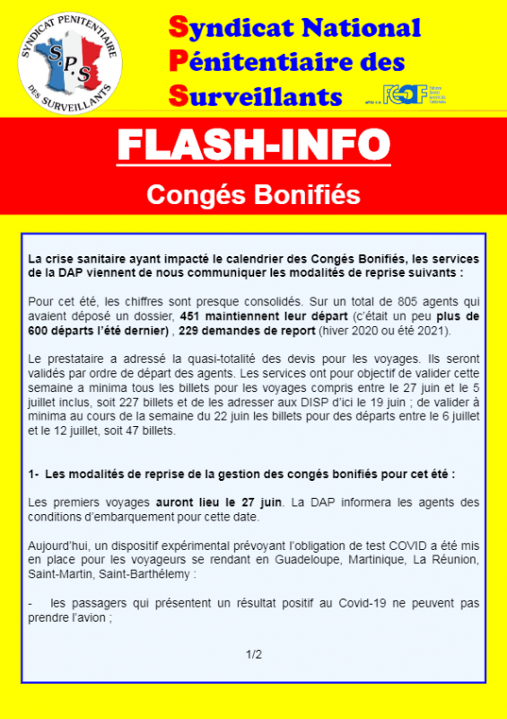Flash info congesbonifies