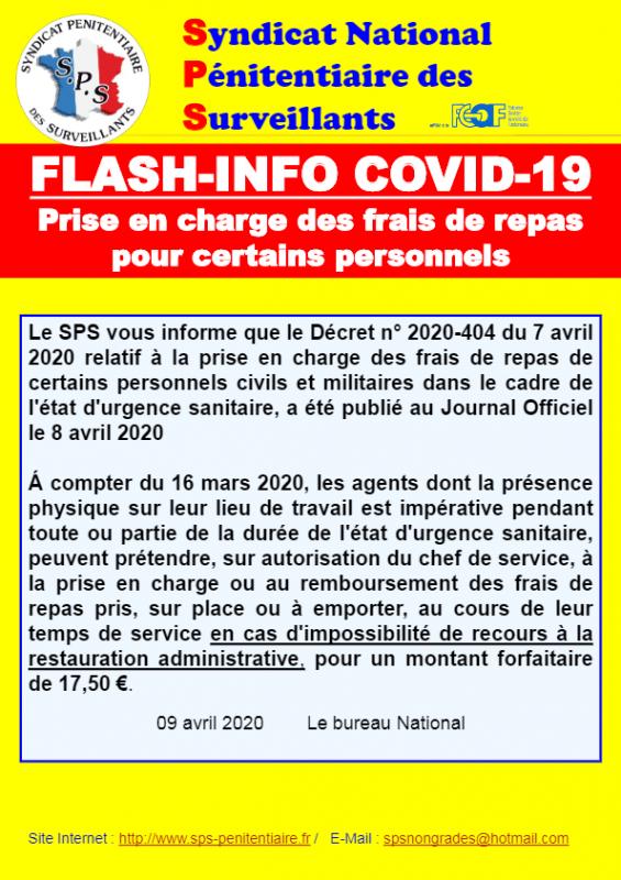 Flash info covid 19 prise en charge des repas pour