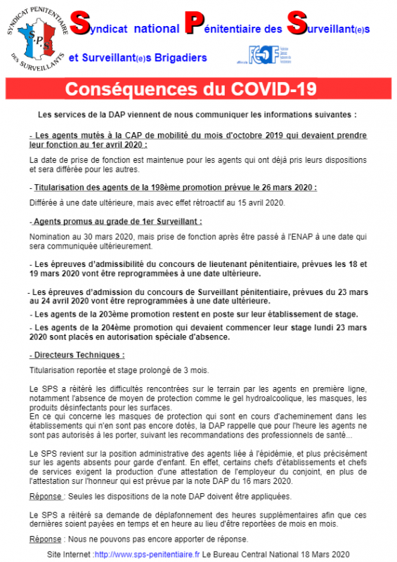 National consequence du covid 19