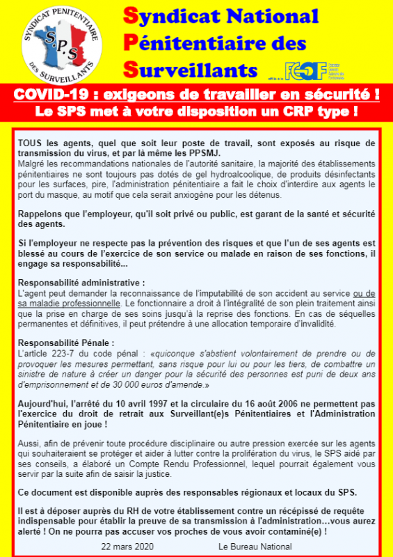 National covid19 exigeons de trvailler en securite