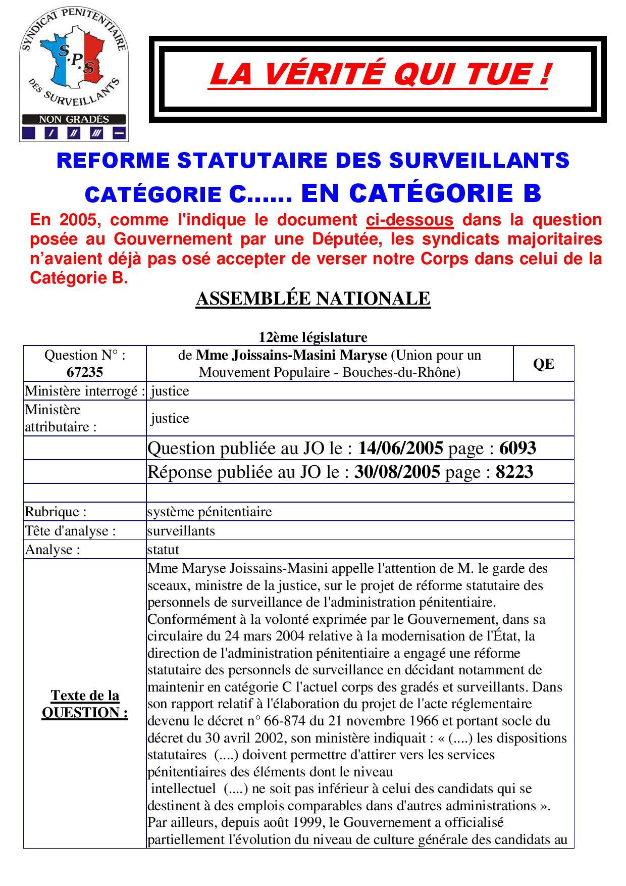 Re forme statutaire des surveillants en cat b 1 page 001