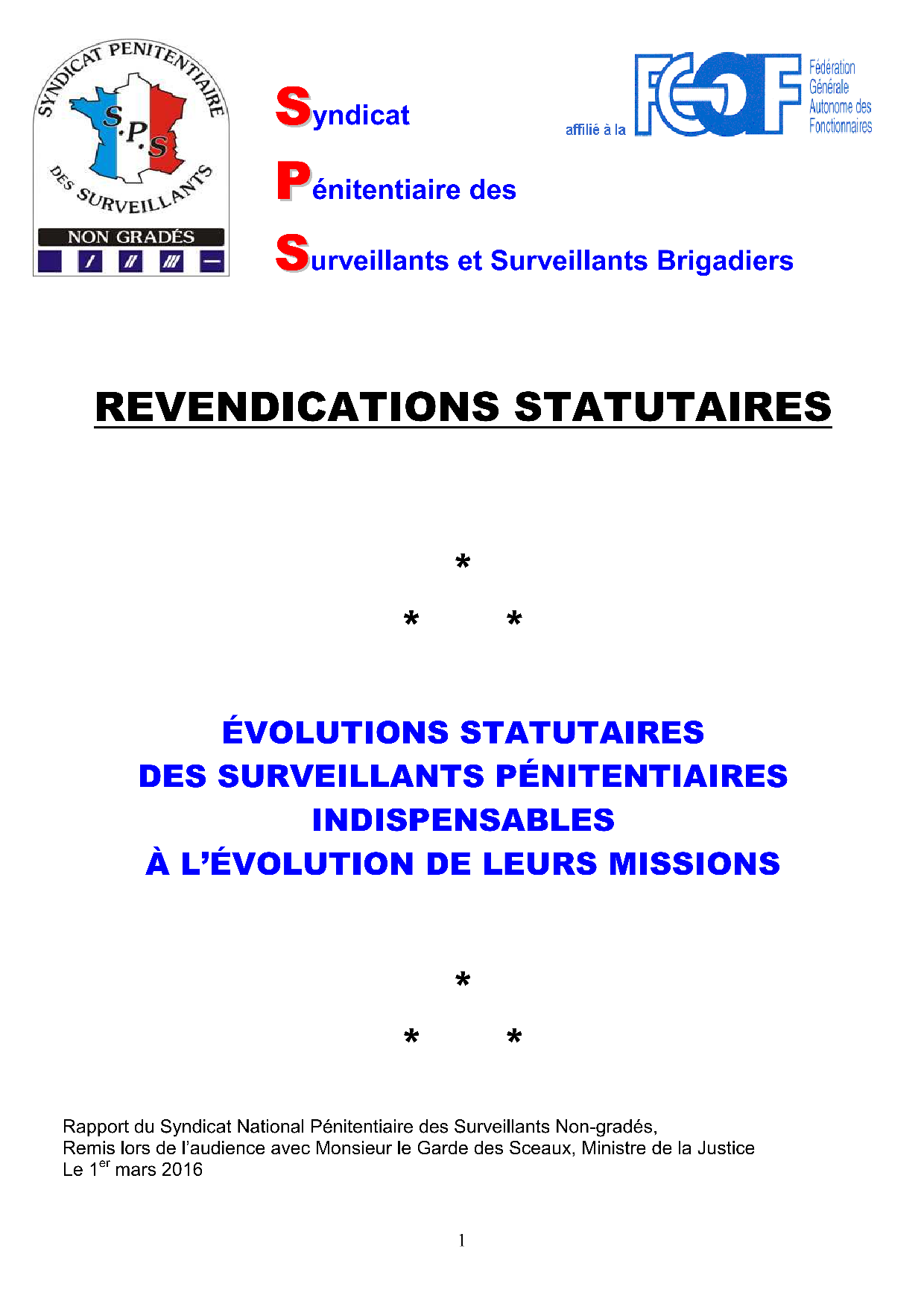 Revendications Statutaires